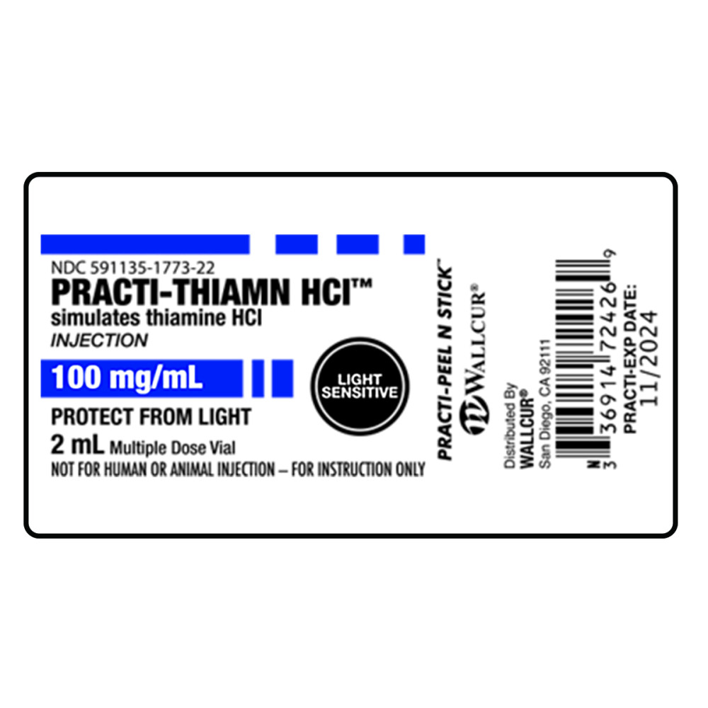 Practi-Thiamine HCI Peel-N-Stick Labels (for training) - EMRN Inc