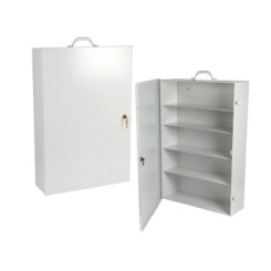 "Metal Cabinet With Lock 18 x 27 x 8 1/8"" White"