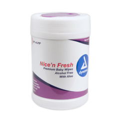 "Nice'n Fresh Premium Baby Wipes Scented, 6"" x 6.75"" - 12 Canisters of 140 Wipes"